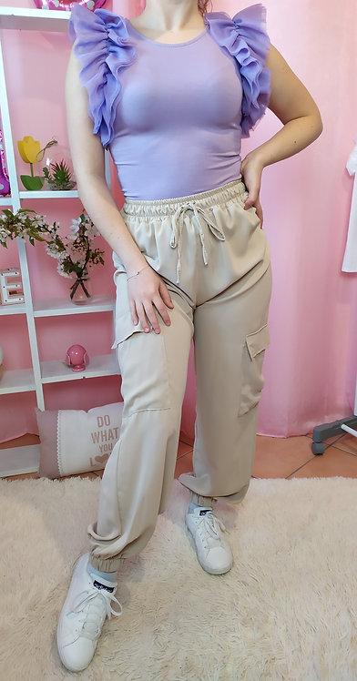 Pantalone sporty-chic in raso