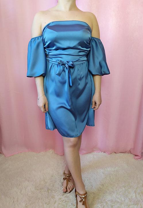 Scamiciato dress in raso con balze