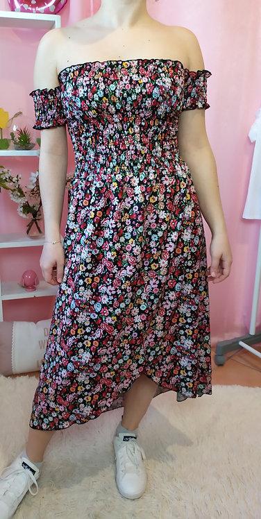 Long Dress fiorellini con spacco