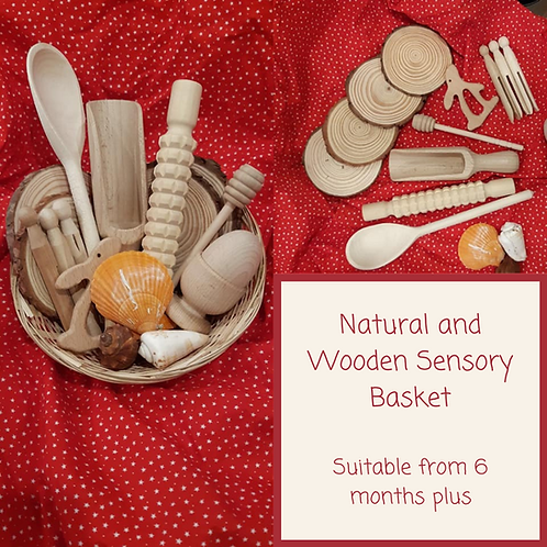 Natural and Wooden Sensory Basket