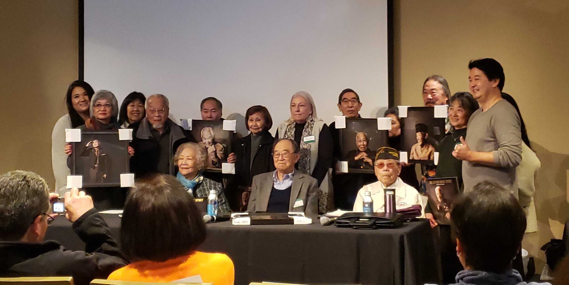 Nisei Veterans and Family Members with Shane Sato and Robert Horsting