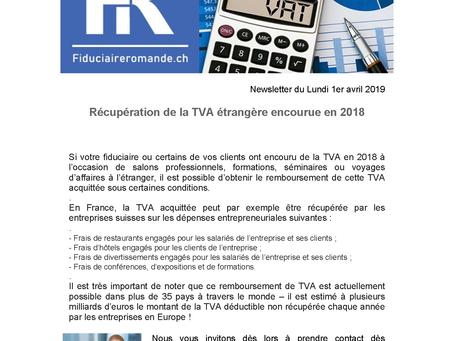 RECUPERATION DE LA TVA ETRANGERE ENCOURUE EN 2018 !
