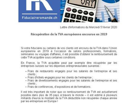 Récupération de la TVA européenne encourue en 2019