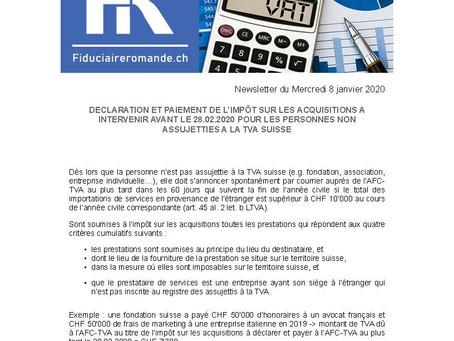 DECLARATION ET PAIEMENT DE L'IMPÔT SUR LES ACQUISITIONS A INTERVENIR AVANT LE 28.02.2020 POUR LES PE