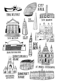 Landmarks along the River Thames