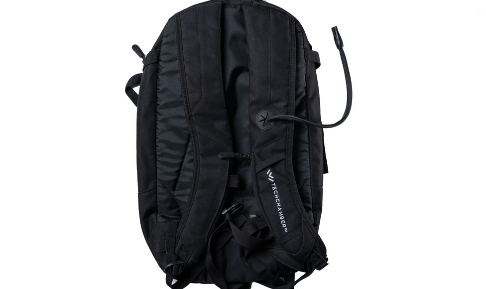 A backpack with hidden vape hose.