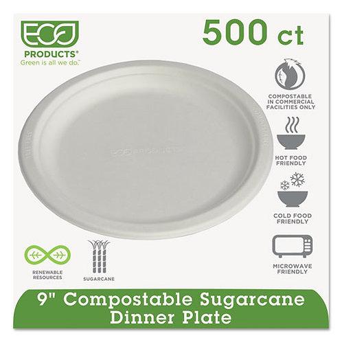 "Compostable Sugarcane Plates, 9"""