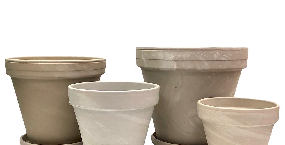 Granite (White) Terracotta Pots & Saucers