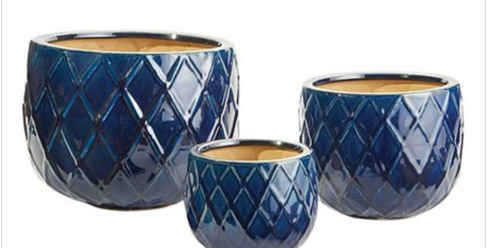 Dark Blue Weave Pot (3 sizes)