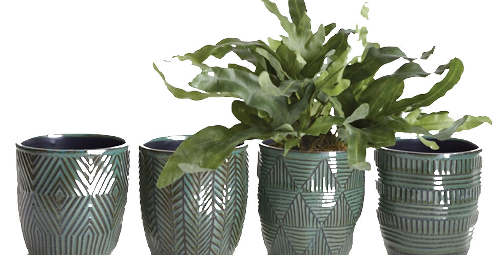 Green Etched Pot