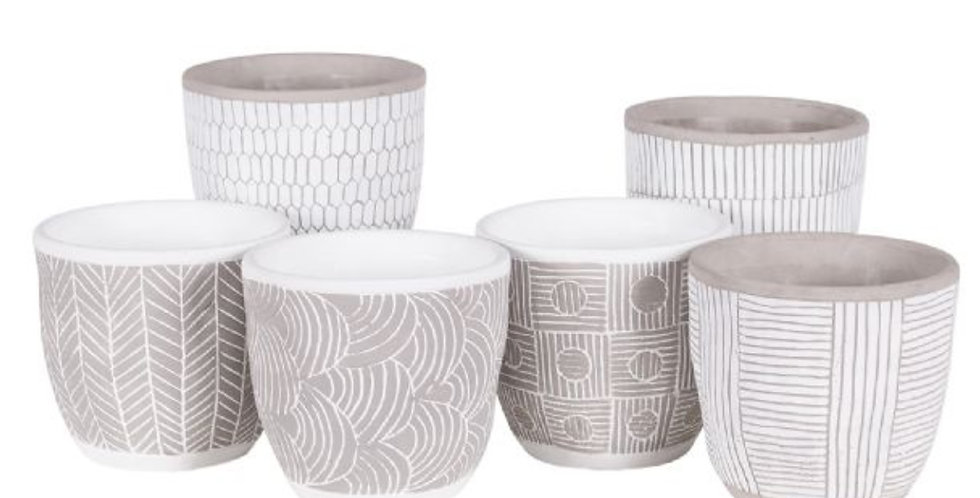 Etched Grey Clay Pot (6 styles, 2 sizes)