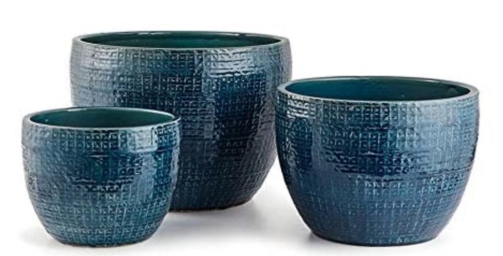 Blue Knit Pattern Pot (3 sizes)