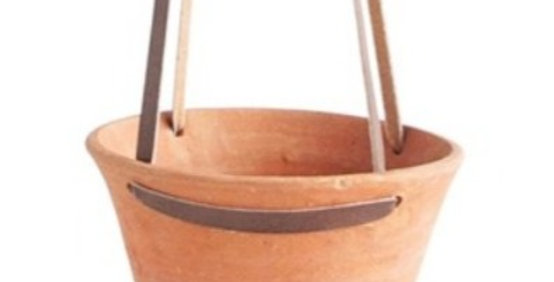 Hanging Terracotta Planter with Leather Strap
