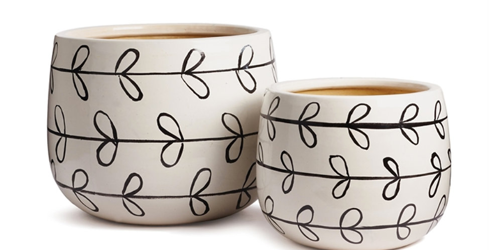 Ribbon Hand-Painted Pot (2 sizes)