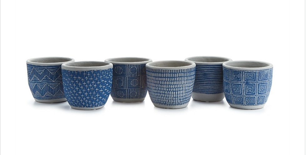 """5"""" Etched Blue Clay Pot (6 styles)"""
