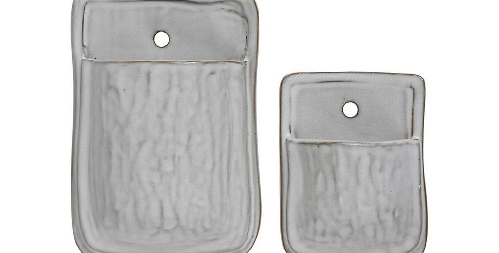 White Glazed Clay Wall Pocket (2 sizes)