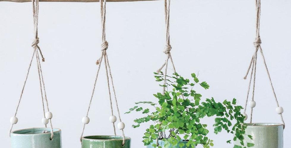 Glazed & Matte Hanging Stoneware Planter