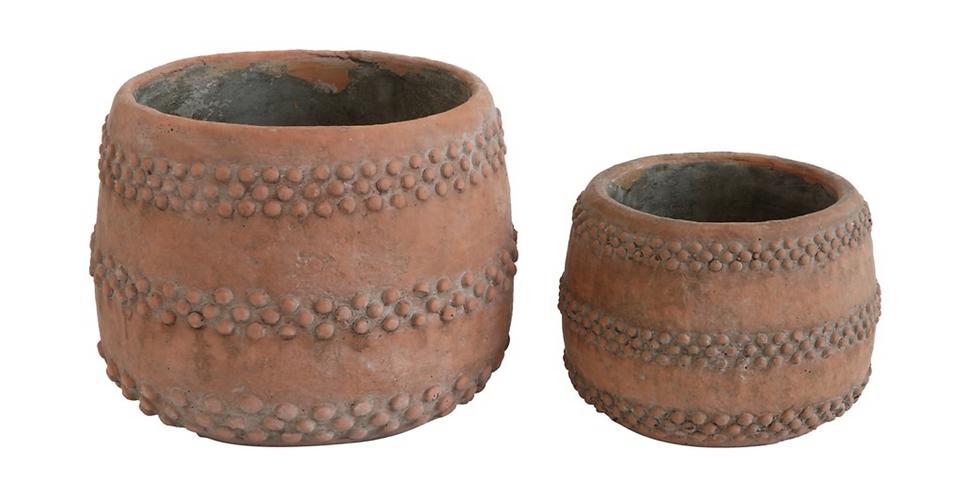 Terracotta Colored Cement Pot (2 sizes)