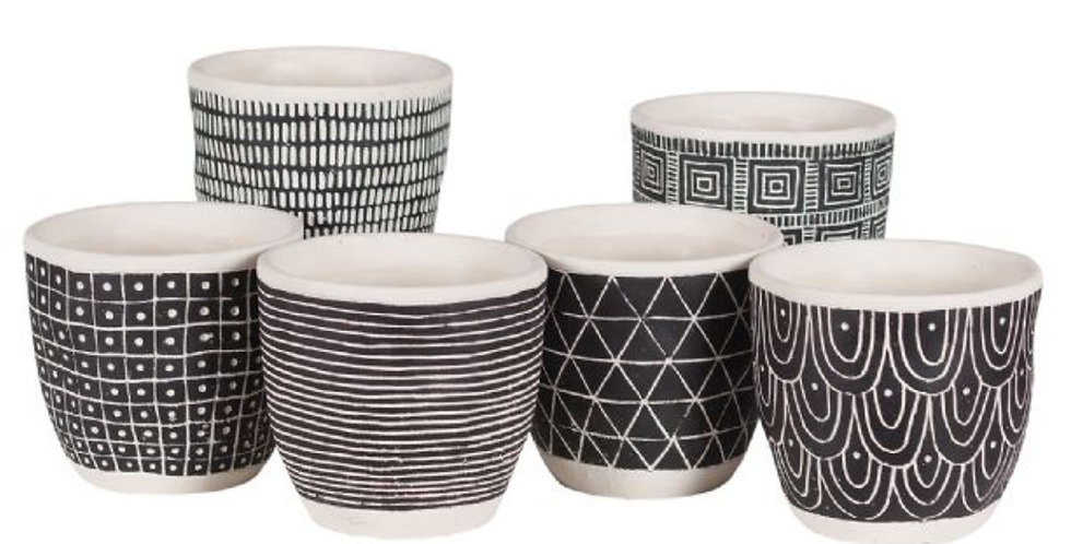 Etched Black Clay Pot (6 styles, 2 sizes)
