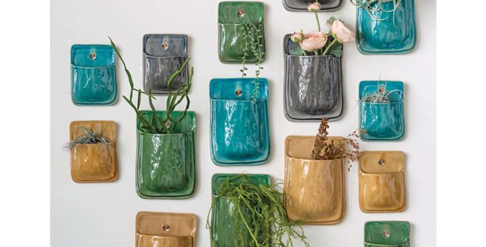 Glazed Clay Wall Pocket (2 sizes, 4 colors)
