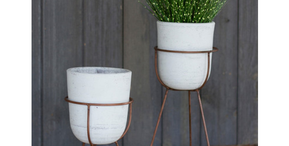 Clay Flower Pot on Copper Stand (2 sizes)