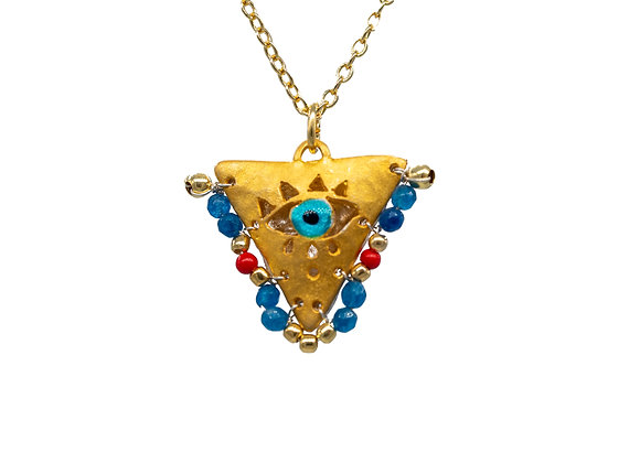 """Aegean Blue and Passion Red """"Fylachto"""" Talisman Pendant in gold-plated silver"""