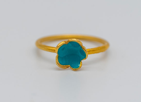Petrol Green Large Flower, Ring, in Gold Plated Silver