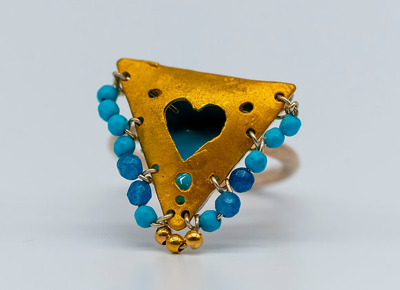 """Shades of Blue, Heart """"Fylachto"""" Talisman Ring in gold-plated silver"""