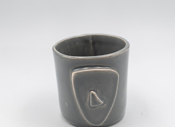 Handcrafted, Cycladian Style, Ceramic Short Mug in Gray