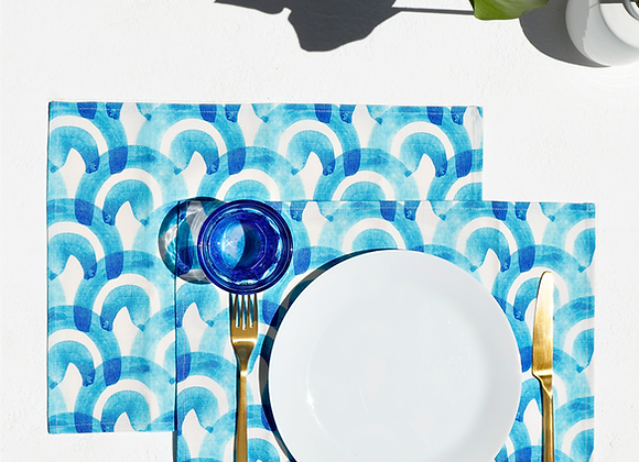 Kyma, Set of 2 Cotton-made, placemats in Blue
