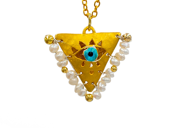 """Pearl White """"Fylachto"""" Talisman Pendant in gold-plate"""