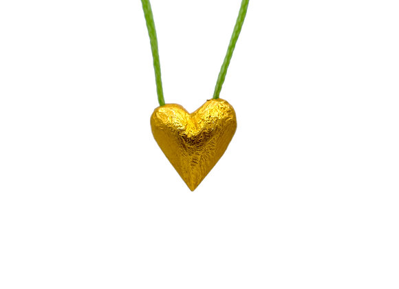 Heart of Gold in Lime Green, Pendant in gold-plated silver