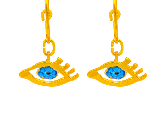 Eye of Gold in Blue, Earrings in gold-plated silver
