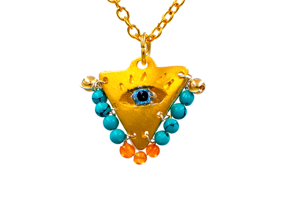 "Petrol Green and Orange ""Fylachto"" Talisman Pendant in gold-plated silver"