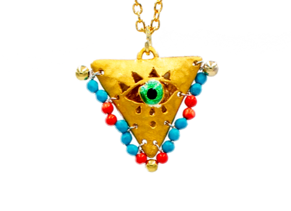 "Turquoise and Coral ""Fylachto"" Talisman Pendant in gold-plated silver"