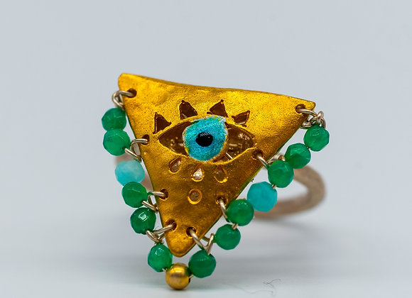 """Emerald Green and Turquoise """"Fylachto"""" Talisman Ring in gold-plated silver"""