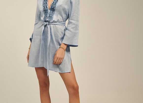 Ione Kaftan, Linen Dress in Baby Blue