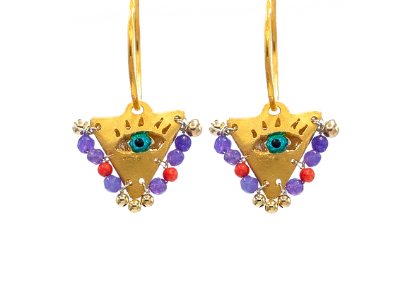 "Purple and Coral ""Fylachto"" Talisman Earrings in gold-plated silver"