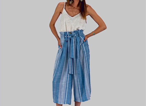 Light Blue, Culottes, Striped Trousers