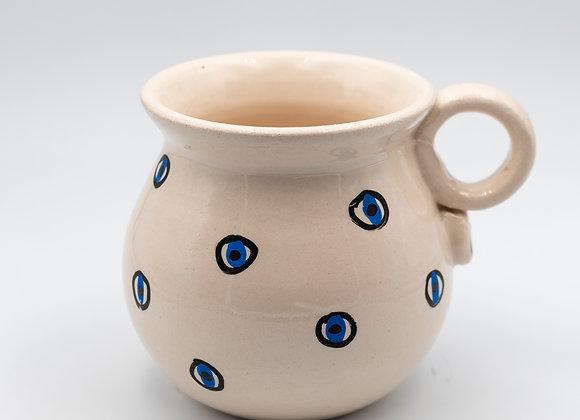 Handcrafted, Blue Evil Eye, Large Ceramic Mug in Ivory