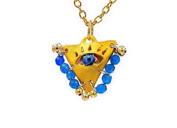 """Aegean Blue """"Fylachto"""" Talisman Pendant in gold-plated silver"""
