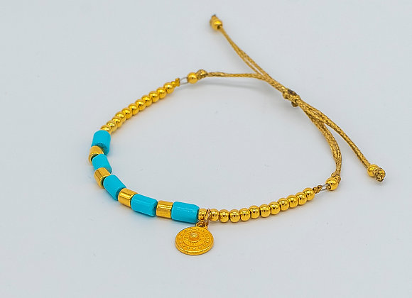 Gold Coin in Blue, Lucky Charm, Bracelet