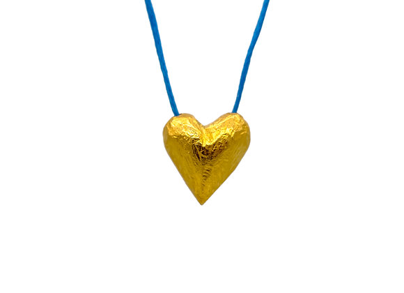 Heart of Gold in Aegean Blue, Pendant in gold-plated silver