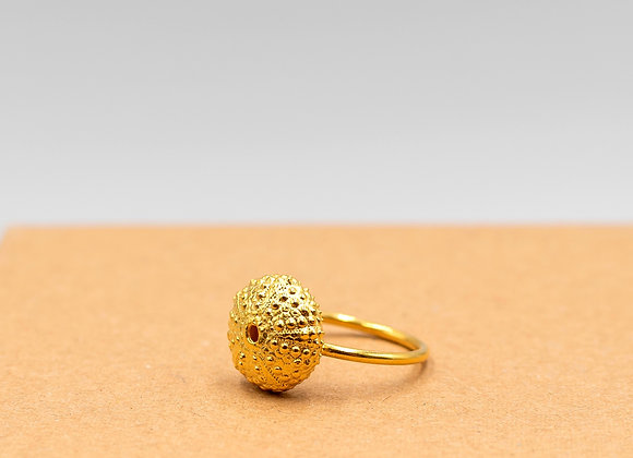 Urchin, Medium Sized, Ring in Gold Plated Silver