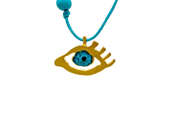 Eye of Gold in Petrol Green, Pendant in gold-plated silver