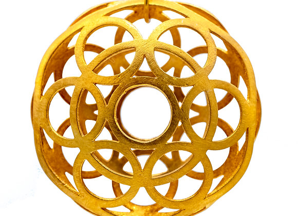 Geometric Circle, Large Sized Pendant in gold-plated silver