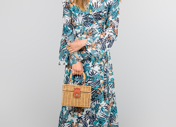 Floral, Wrap, Maxi Dress in Green
