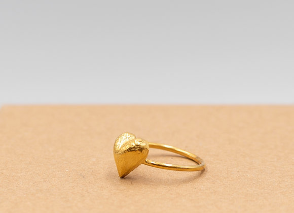 """Heart of Gold"" Ring in Gold Plated Silver"