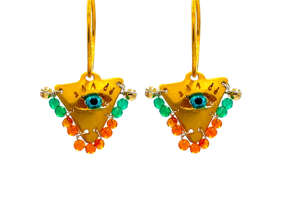 """Emerald and Peach """"Fylachto"""" Talisman Earrings in gold-plated silver"""