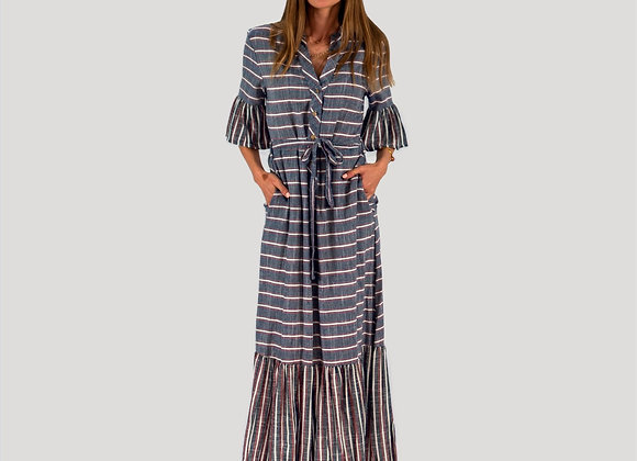 Denim Blue, Striped, Maxi Dress